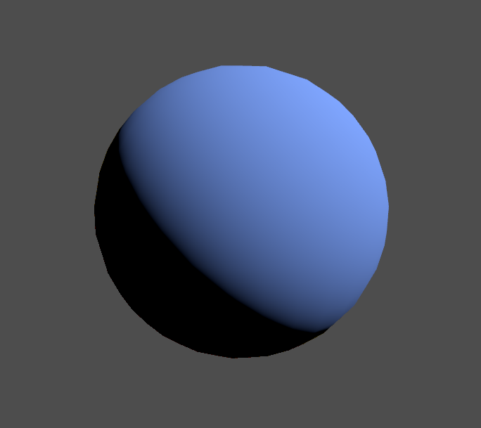 Blue sphere lit with Blinn-Phong in Unity engine.