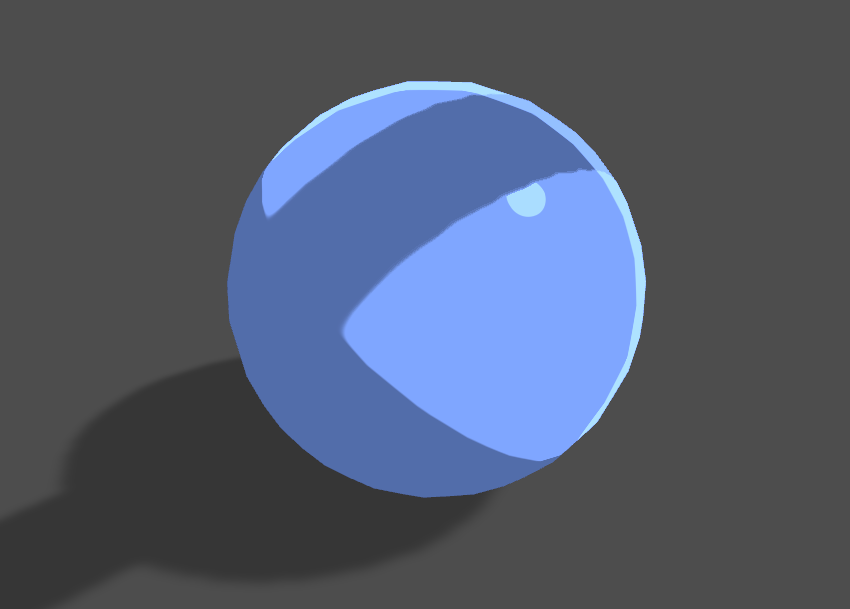 Blue sphere with toon shading receiving a shadow in Unity engine.