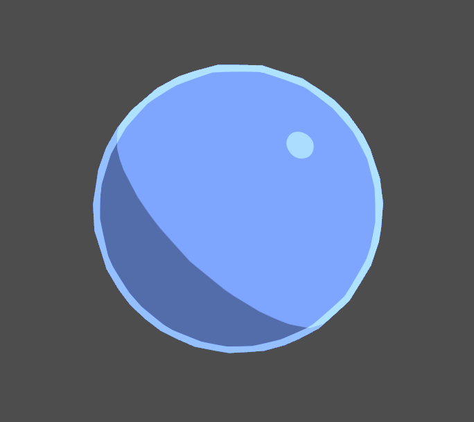Blue sphere with toon rim lighting in Unity engine.