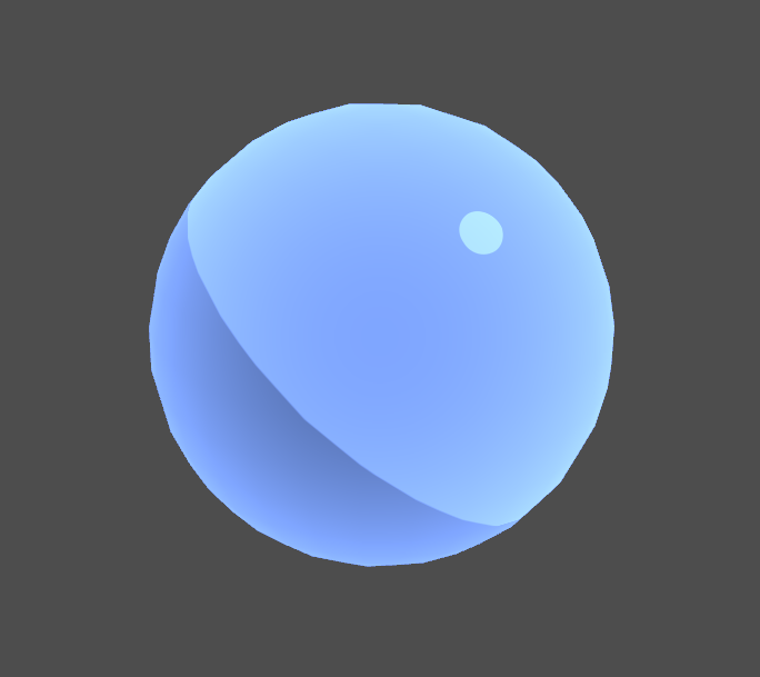 Blue sphere with rim lighting in Unity engine.
