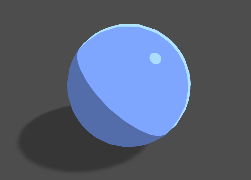 Blue sphere with toon shading casting a shadow in Unity engine.