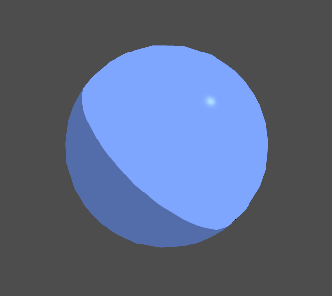 Blue sphere lit with toon style directional, ambient and specular lighting in Unity engine.