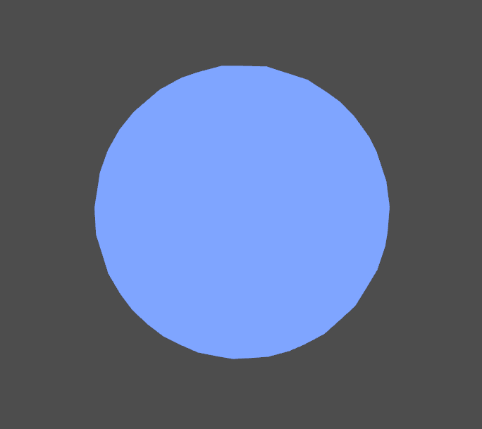 Blue unlit sphere in Unity engine.